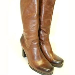 NICOLE Leather Square Toe Tall Leather Boots